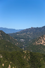 Section of the Great Wall of China in the mountains