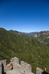 China, Juyongguan. View from the highest point of the Great Wall