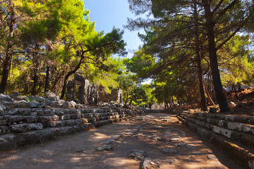 Old town Phaselis in Antalya, Turkey