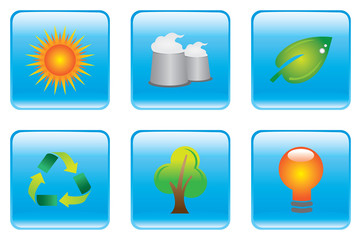 Blue Environmental Conservation Icon Set