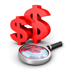 red dollar currency symbols with magnifier glass
