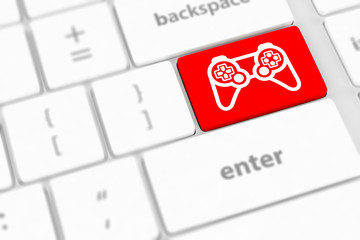 computer keyboard with  icon game pad