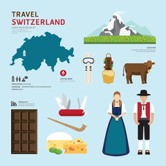 Travel Concept Switzerland Landmark Flat Icons Design .Vector Il