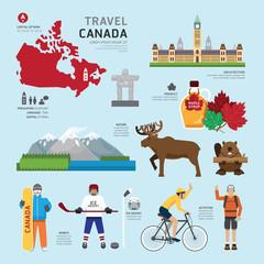 Travel Concept Canada Landmark Flat Icons Design .Vector Illustr