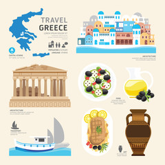 Travel Concept Greece Landmark Flat Icons Design .Vector Illustr