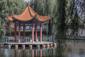 Arbor on piles on water in the Chinese city of Beidaihe