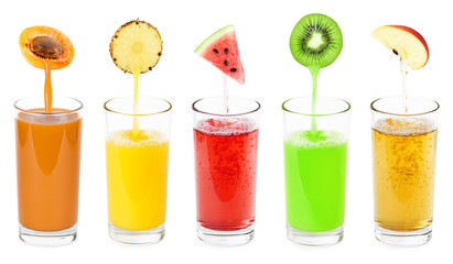 Glass of fresh fruit juices