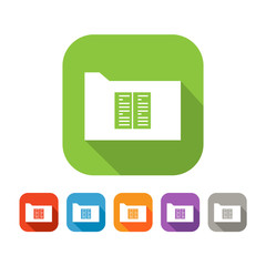 Color set of flat folder with document or book