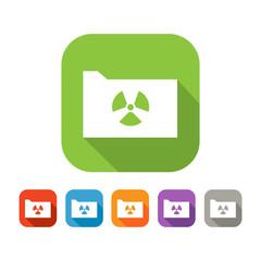 Color set of flat folder with virus sign