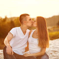 Young couple in love outdoor.