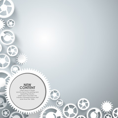 Abstract vector – white gears on grey background