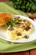 Leinwanddruck Bild - gourmet omelette with black truffle and herbs