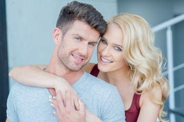 Smiling Young White Romantic Couple