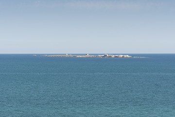 Views of Tabarca islet from Santa Pola, Alicante, Spain