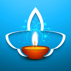 Happy diwali diya celebration blue colorful vector illustration