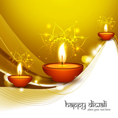 Happy diwali diya colorful stylish wave hindu festival backgroun
