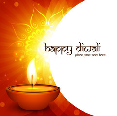 Happy Diwali diya for card creative wave shiny colorful backgrou