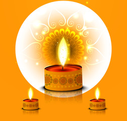 Card for happy diwali diya reflection element colorful vector ba