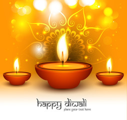 Vector Illustration of glowing Diwali diya card background