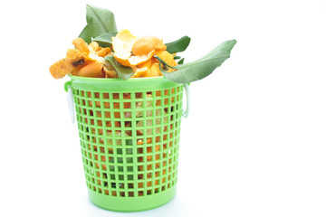 Orange peel in plastic basket