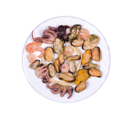 Mixed seafood plate.