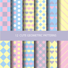 pastel geometric seamless pattern set. for kid and sweet girl