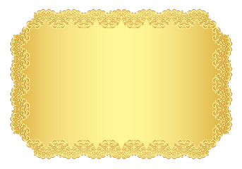 Luxury golden invitation with lace border
