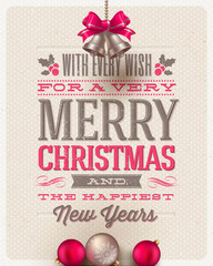 Christmas type design, holidays decoration and hand bells