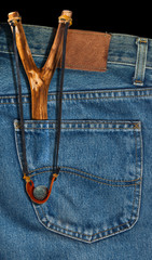 Old Slingshot in Denim Pocket