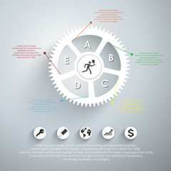 Infographic design template with gear chain. Vector illustration