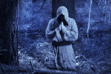 Monk in the misty forest