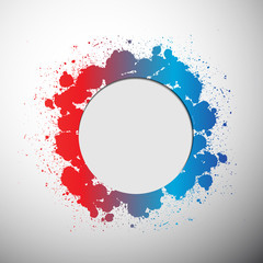 Circle white frame with spray colorful paint