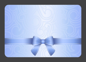 Light blue gift card with ribbon and swirl ornament