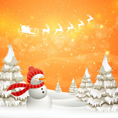 Vector Illustration of an Abstract Christmas Design with Snowman