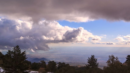 Clouds over Sicily. Panorama. Italy. TimeLapse. UltraHD (4K)