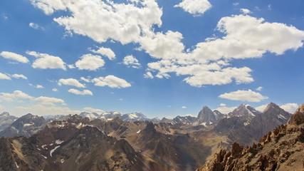 High mountains. Zoom. Time Lapse. Pamir, Tajikistan. 4K