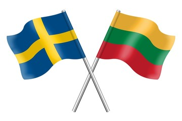 Flags: Sweden and Lithuania