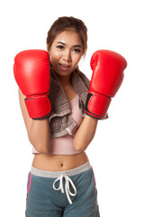Asian slim girl  with red  boxing glove
