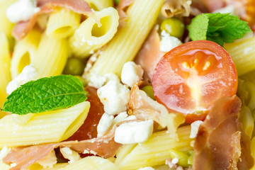Italian Penne Pasta Salad With Mozzarella, Tomatoes And Ham