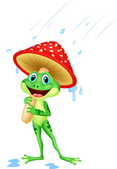 Cute frog wearing rain gear under mushroom