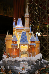 Layout beautiful fairytale castle with gnomes