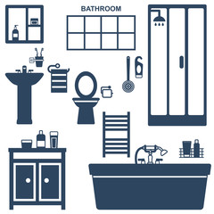 Various bathroom elements silhouette icons vector set
