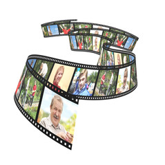 Family photos on filmstrip