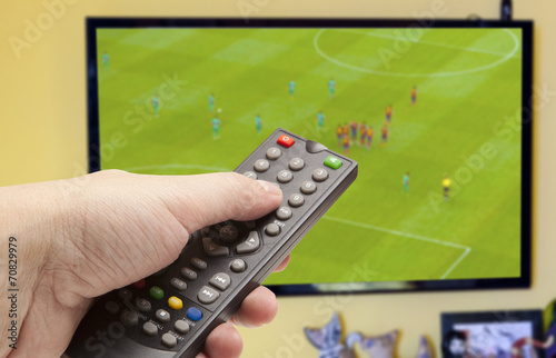 canvas print picture Soccer game on TV