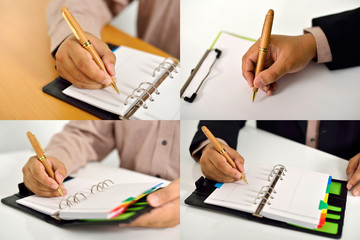Set Of Business Man Writing
