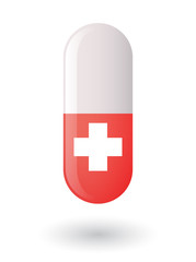 Pill with a swiss flag