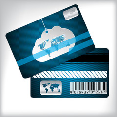 Loyalty card with cloud and striped background