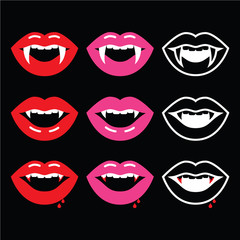Vampire mouth, vampire teeth icons on black