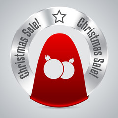 Christmas badge with red ribbon