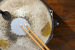 Old Metal Snare Drum with Drumsticks - 70830771